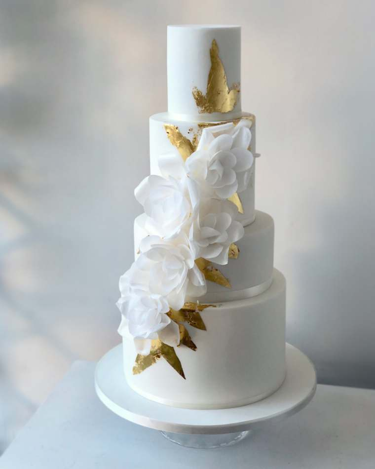 Gold Leaf Wafer Rose Wedding Cake