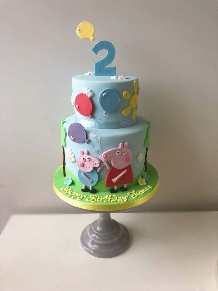 Outstanding 2 Tier Peppa Pig Cake Funny Birthday Cards Online Overcheapnameinfo