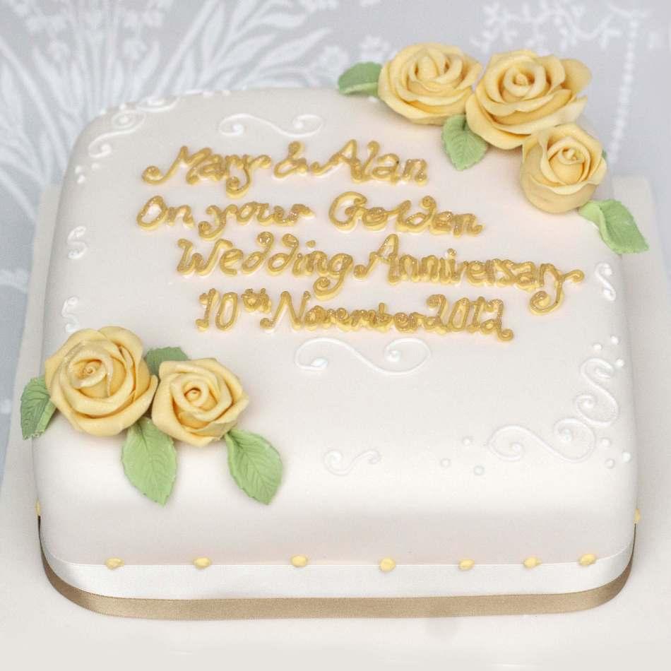 Golden Roses Wedding Anniversary Cake | Anniversary