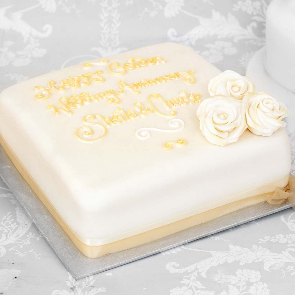 50th Wedding Anniversary Cakes.Simple Golden Anniversary Cake