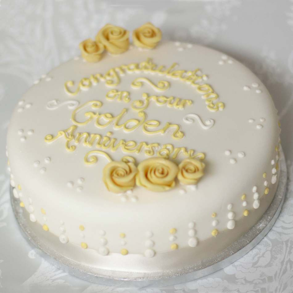 Round Golden Wedding Anniversary Cake Celebrations