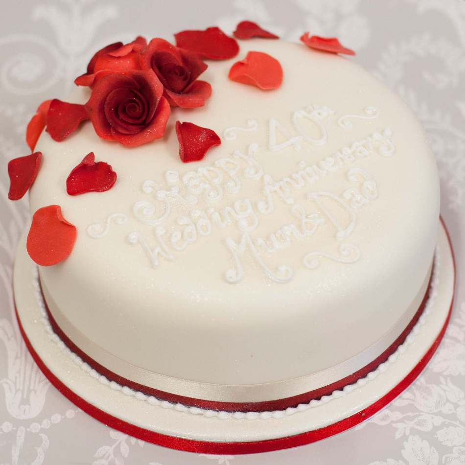Ruby Wedding Anniversary Cake Red Rose Cake Edinburgh Glasgow