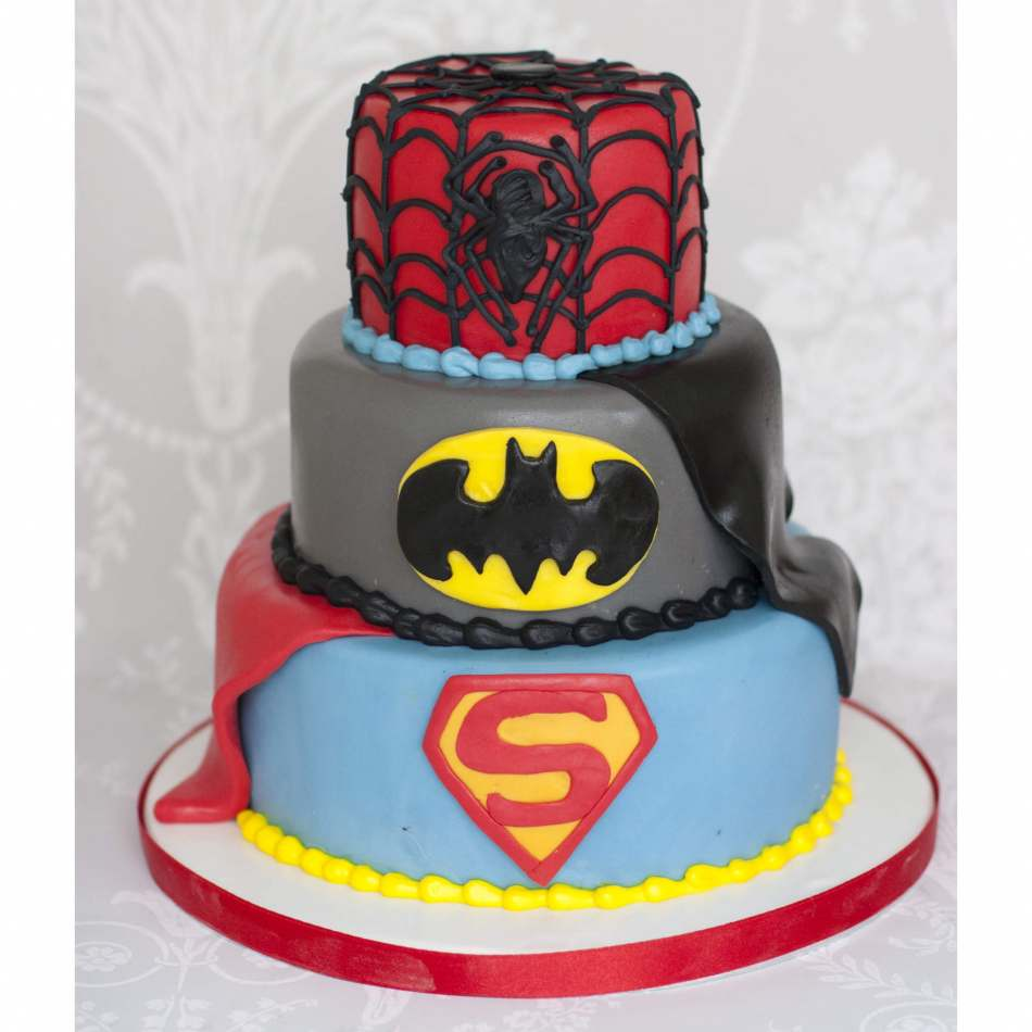 3 Tier Superheroes Cake Birthday Cakes