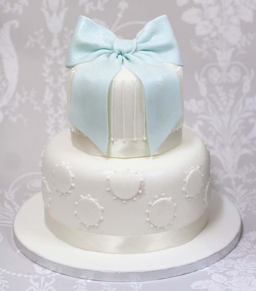 Marvelous Blue Bow Tiered Cake Celebration Cake Personalised Birthday Cards Epsylily Jamesorg