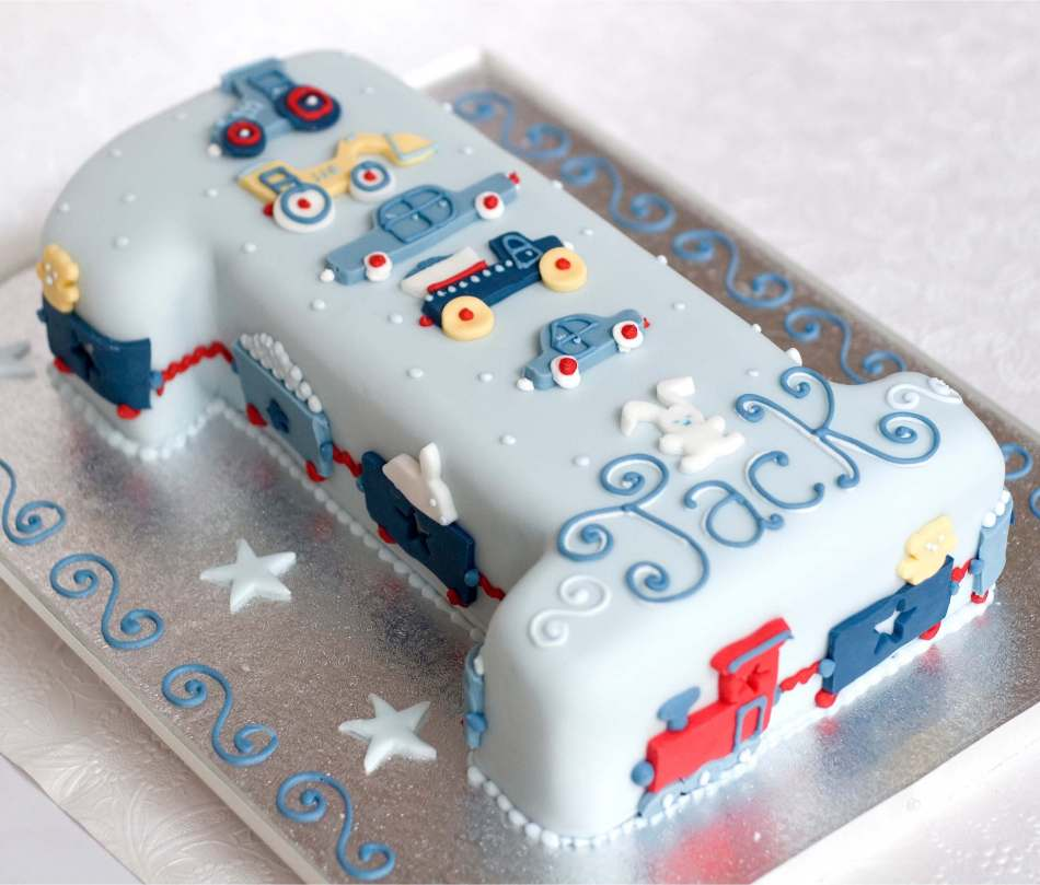 Trucks Trains Number Cake Birthdays Children
