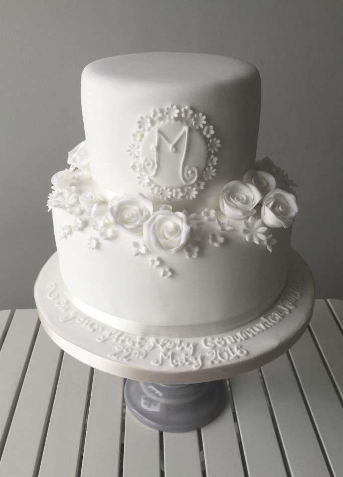 White flower monogram cake celebration cakes white flower monogram cake mightylinksfo