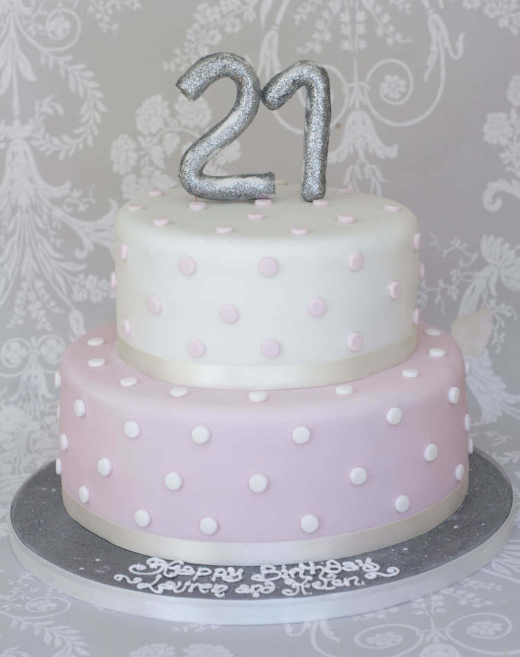 Silver And Pink Two Tier Cake Birthdays