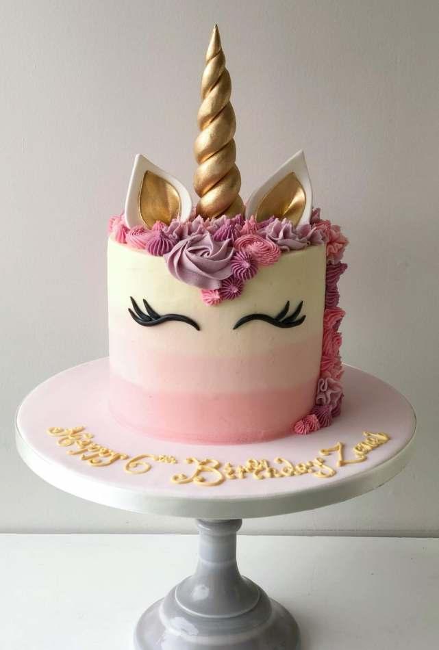Pink & Gold Unicorn cake | Celebration cakes