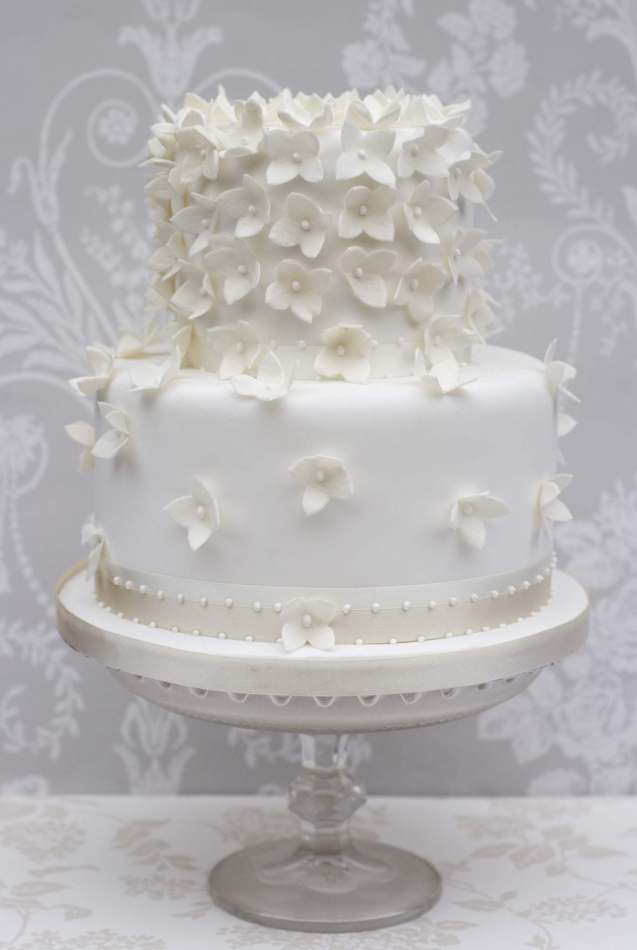 Hydrangea Cascade In 2 Tiers Wedding Cakes