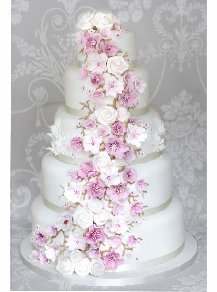 Cherry Blossom Cascade Wedding Cakes