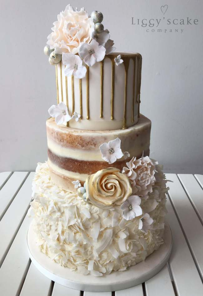 Gold Drip Neapolitan Wedding Cakes