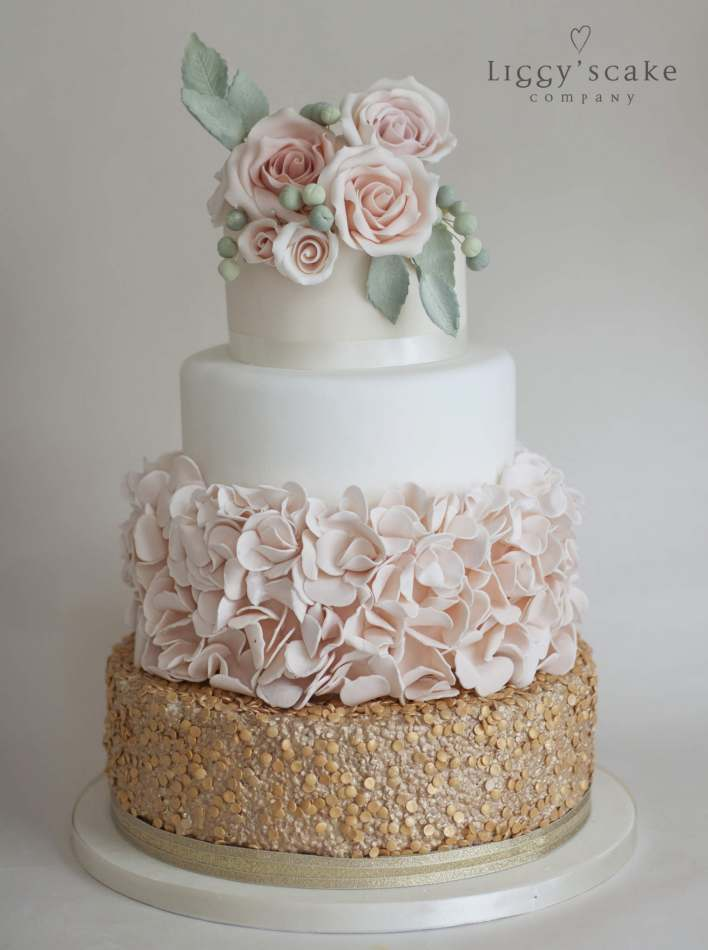Gold Sequin And Peach Petal Cake Wedding Cakes