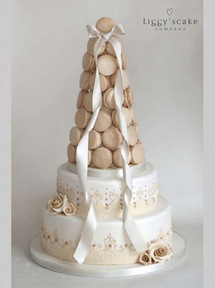 Bridal Macaron Tower Wedding Cakes