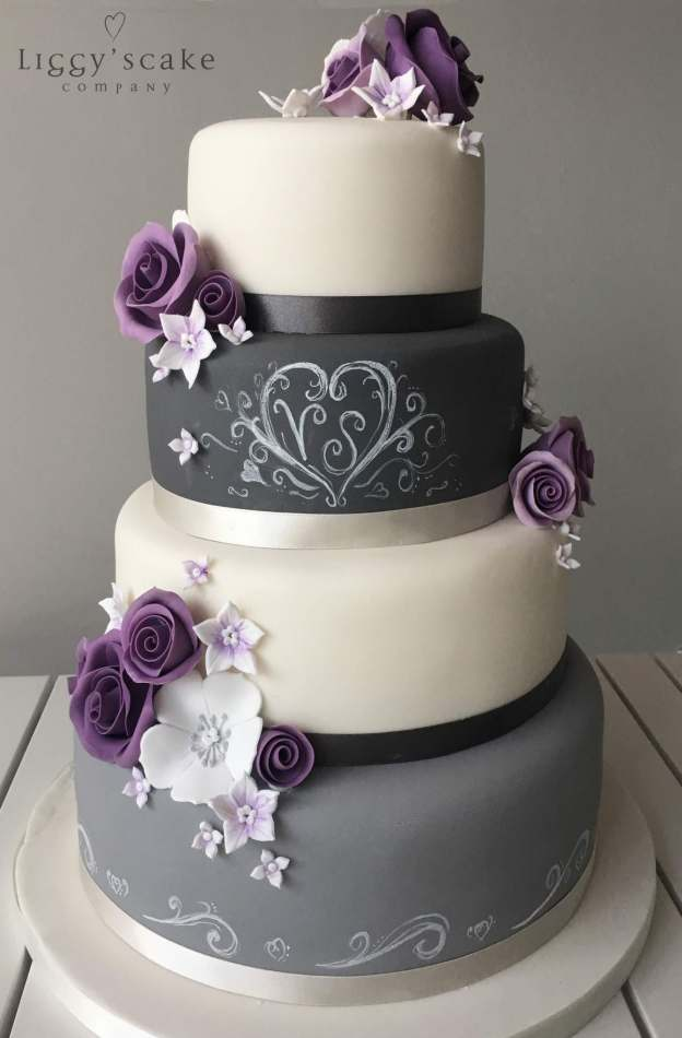 Violet Rose Chalkboard Cake Wedding Cakes