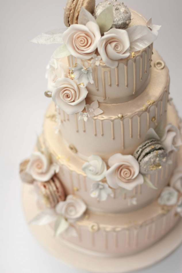 Peach Ombre Drip Cake Wedding Cakes