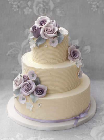 Buttercream Lilac Rose Wedding Cakes