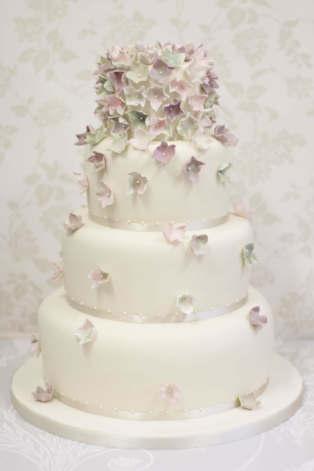 wedding cake. april hydrangea wedding cake