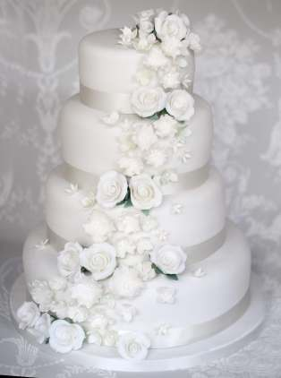 White cascade wedding cake
